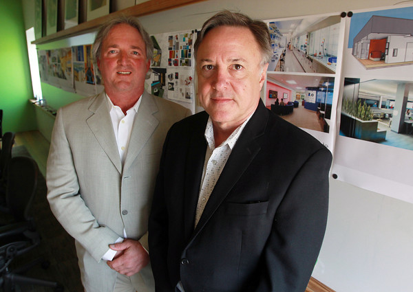Salem: Paul Durand, left, and Mark Meche, Senior Principals of Winter Street Architects, pose for a photo. The design firm recently won a competition to build the Project Quicksilver data center in South Jordan, Utah. David Le/Salem News