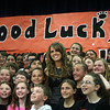 Beverly: Beverly native Angie Miller poses for a photo with fifth graders at the Centerville Elementary School on Saturday afternoon. A Finalist on American Idol, Miller returned to her hometown, cheered on by thousands as she paraded down Cabot Street from City Hall to Beverly High School, where she sang for over twenty-thousand people gathered. David Le/Salem News