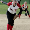 Marblehead:<br /> Salem's pitcher Abby Stevens winds up for a pitch during the Salem at Marblehead softball game. <br /> Photo by Ken Yuszkus/Salem News, Monday June 6, 2013.
