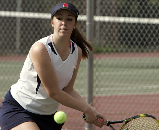 Peabody:<br /> Peabody's Rachel Gillis competes in a singles match at the Beverly at Peabody girls tennis match.<br /> Photo by Ken Yuszkus/Salem News,  Monday May 20, 2013.