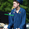 Peabody: Peabody High School graduate Dalton DeLima plays the tympani with the PVMHS Band prior to the start of Graduation on Friday evening. David Le/Salem News