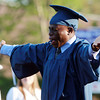Peabody: Peabody High School graduate Thomas Erevwiohwo-Minna pumps his arms up and down as his name is called to receive his diploma on Friday evening. David Le/Salem News