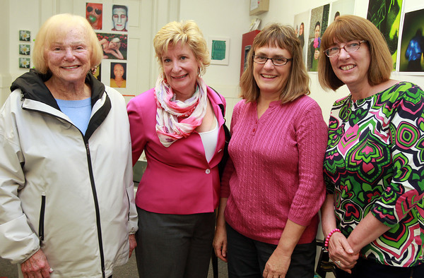 Peabody: From left, Carol Ranier, JoAnne Wahl, Donna Marden, and Kathy Marques, at the ArcWorks Community Art Center's Spring Soiree on Thursday evening. David Le/Salem News