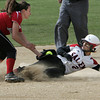 Marblehead:<br /> Salem's Desiree Martin slides safely into second base as Marblehead's Olivia Vener gets the throw during the Salem at Marblehead softball game.<br /> Photo by Ken Yuszkus/Salem News, Monday June 6, 2013.