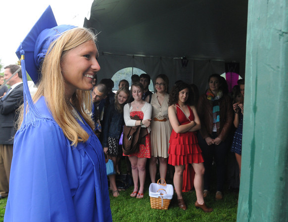 Beverly:<br /> Waring School graduate Zoe McVickar Fransioli enters the tent during the processional for the graduation ceremony.<br /> Photo by Ken Yuszkus/Salem News, Friday May 24, 2013.