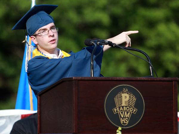 Peabody: Peabody High School Salutatorian Matthew Wholley makes a joke during his Salutatory Address on Friday evening during Graduation. David Le/Salem News