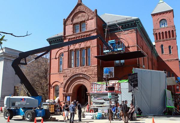 """Salem: Movie crews for """"American Hustle"""" have set up camp outside the old Salem Superior Court on Federal St. in Salem. David Le/Salem News"""