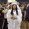 Middleton:<br /> North Shore Tech grad Natasha Balcacer of Peabody  leads one of two lines of grads into the gymnasium at the start of the graduation ceremony.<br /> Photo by Ken Yuszkus, Salem News, Thursday May 30, 2013.
