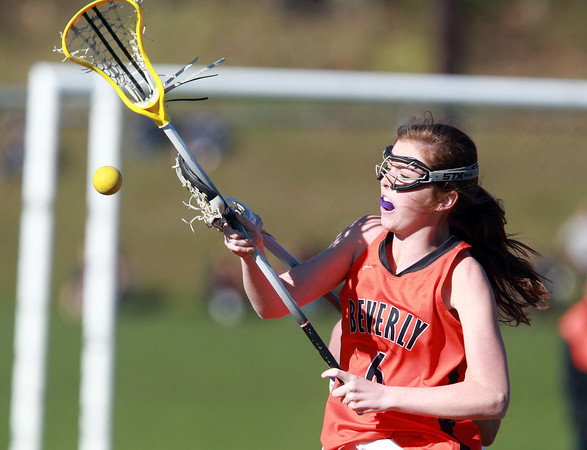 Peabody: Beverly's Maddie Curran keeps her eyes on the ball after it was jarred loose by a Peabody player on Friday afternoon. David Le/Salem News