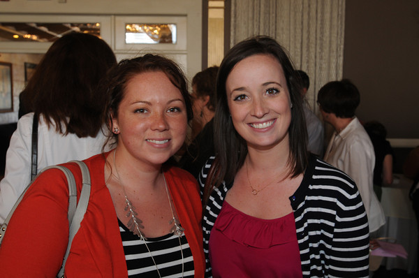 """Danvers:<br /> Briscoe Middle School teachers Aileen Noonan, left, and Lauren Seabrook attend the Beverly Teachers Association """"Celebration of Excellence"""" champagne reception held at the Danversport Yacht Club.<br /> Photo by Ken Yuszkus/Salem News, Tuesday June 7, 2013."""