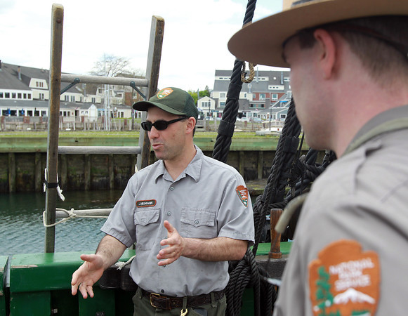 Salem: Jeremy Bumagin, Chief of the Maritime Division for the Salem Maritime, talks about ongoing renovations to the Friendship in Salem. David Le/Salem News
