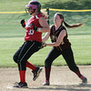 Marblehead:<br /> Newburyport's Jackie Krusemark tags out Marblehead's Alexa Brown at second during the Newburyport at Marblehead Division 2 North tournament softball.<br /> Photo by Ken Yuszkus, Salem News, Thursday May 30, 2013.