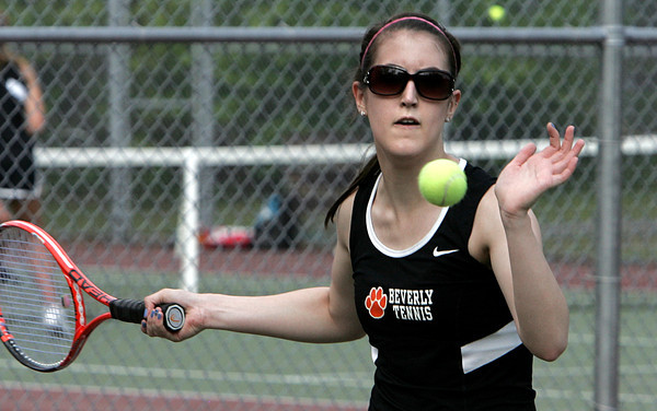 Peabody:<br /> Beverly's Jillian Morneau competes in a singles match at the Beverly at Peabody girls tennis match.<br /> Photo by Ken Yuszkus/Salem News,  Monday May 20, 2013.