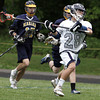 Hamilton:<br /> Hamilton-Wenham's Cameron Macri, right, gets ready to release the ball while being trailed by Marian players during the Marian at Hamilton-Wenham boys tournament lacrosse game.<br /> Photo by Ken Yuszkus, Salem News, Wednesday May 29, 2013.
