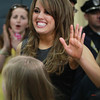 Beverly: Beverly native Angie Miller waves to cheering Centerville students. David Le/Salem News