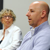 Salem:<br /> Founder Jacqueline Hazel left, and president Marc Hazel, of  Jacqueline's Gourmet Cookies in Salem speak about their company. <br /> Photo by Ken Yuszkus/Salem News, Wednesday June 8, 2013.