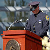 Salem: ______, a former classmate of Officer Sean Collier talks about his friend during a ceremony, honoring the fallen MIT Police officer on Monday afternoon. David Le/Salem News