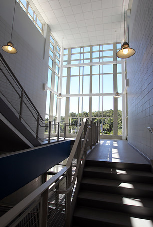 Aug. 29, 2012: A stairwell in a new wing of Danvers High School.<br /> David Le/Staff Photo