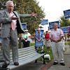 Beverly Mayor Bill Scanlon emphatically introduces U.S. Senate candidate Elizabeth Warren while standing on a bench in Veterans Park on Thursday evening. David Le/Staff Photo