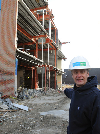 April 6, 2011: DPW Director David Lane speaks about the construction at Danvers High School. Photo by Ken Yuszkus/Salem News
