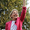 U.S. Senate candidate Elizabeth Warren waves to her supporters at Veterans Park in Beverly on Thursday evening. David Le/Staff Photo