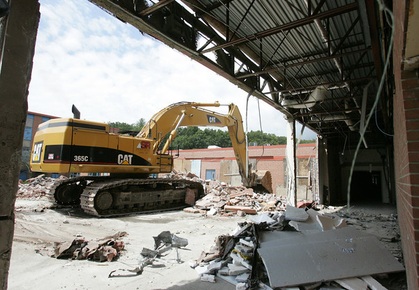 Aug. 12, 2010: Crews continue to work on the demolition of Danvers High School. Staff file photo by Deborah Parker