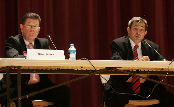 State Rep. Ted Speliotis speaks during a debate against oponent Daniel Bennett held at Peabody City Hall. Oct. 18. Photo by Deborah Parker.