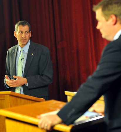 Jerry Parisella, left, Democratic  candidate for Beverly state representative, speaks to an issue during a debate Oct. 20.   photo by Mark Teiwes / Salem News