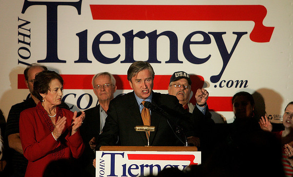 Salem: U.S.Congressman John Tierney speaks to supporters at the Hawthorne Hotel, after defeating Bill Hudak on Tuesday. Next to him is his wife, Patrice. Photo by Mark Lorenz/Salem News