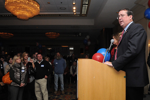 Peabody:<br /> Bill Hudak who lost the  congressman's race for the 6th district gives his concession speach at the Peabody Marriott on Tuesday evening. <br /> Photo by Ken Yuszkus/salem News, Tuesday, November 2, 2010.