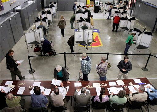 Voters fill the polling place in Williston, Vt., Tuesday, Nov. 2, 2010. (AP Photo/Toby Talbot)