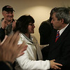 State Representative Ted Speliotis is greeted by supporter Sharon Gould of Peabody while at the Polish Club in Danvers Tuesday evening. Photo by deborah parker/november 2, 2010
