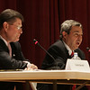 State Rep. Ted Speliotis, right, speaks during a debate against oponent Daniel Bennett held at Peabody City Hall Oct. 18. Photo by Deborah Parker.