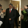 State Representative Ted Speliotis is greeted by supporters upon entering the Polish Club in Danvers Tuesday evening. Photo by deborah parker/november 2, 2010