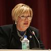 State Rep. Joyce Spiliotis speaks during a debate against oponent Martin Scafidi held at Peabody City Hall oct. 18. Photo by Deborah Parker.