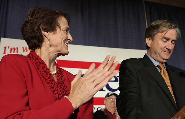 Salem: U.S. Congressman John Tierney and his wife, Patrice at the Hawthorne Hotel for his celebration party after defeating Bill Hudak. Photo by Mark Lorenz/Salem News