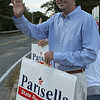 Beverly: Jerry Parisella, candidate for state representive campaigns in front of Vittori-Rocci Post, yesterday afternoon. Photo by Mark Lorenz/Salem News