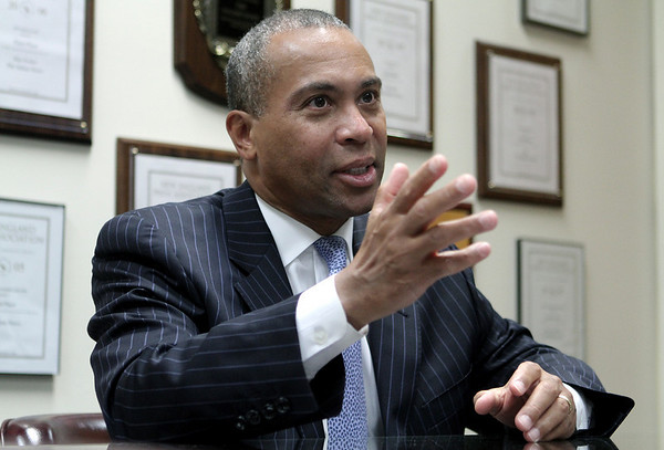 Gov. Deval Patrick, during a Salem News editorial board meeting. Photo by Mark Lorenz/Salem News