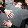 Salem: Newly elected Ward 6 City Councilor Heather Famico, right, gets a big hug from newly elected School Committee member Patrick Schultz, as she arrived at Rockafellas on Tuesday evening. Famico upset incumbent Mike Sosonowski. David Le/Salem News