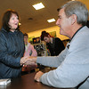 "Peabody:<br /> Patricia Stephenson shakes Bobby Orr's hand after he signed his new book, ""Orr: My Story"" for her. Orr was at Barnes and Noble for the promotion of his new book.<br /> Photo by Ken Yuszkus / The Salem News, Friday, November 22, 2013."