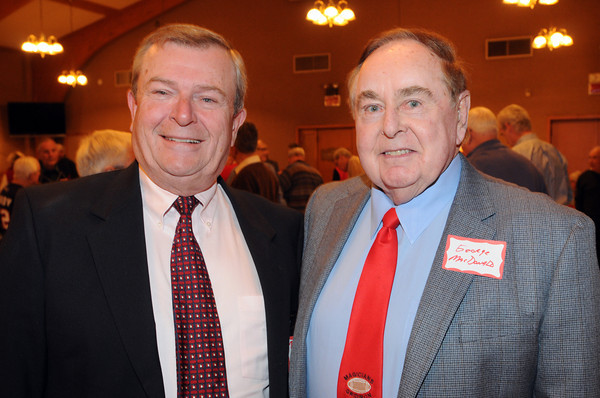 Marblehead:<br /> Referees Bill Coaffey, left, and Dr. George MacDonald attended the Marblehead-Swampscott annual 'Old-Timers Night' at the Gerry 5 Club in Marblehead.<br />  Photo by Ken Yuszkus / The Salem News, Monday, November 25, 2013.