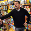 Danvers:<br /> Andrew Schylling of the Green Elephant toy store in Danvers, talks about the advantages of shopping at his store rather than the larger stores.<br />  Photo by Ken Yuszkus / The Salem News, Tuesday, November 26, 2013.