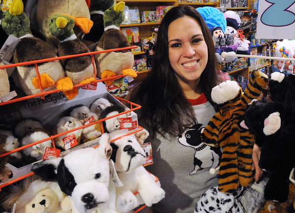 Danvers:<br /> Jennifer Schylling of the Green Elephant toy store in Danvers, stands amongst some stuffed animals at her store.<br />  Photo by Ken Yuszkus / The Salem News, Tuesday, November 26, 2013.