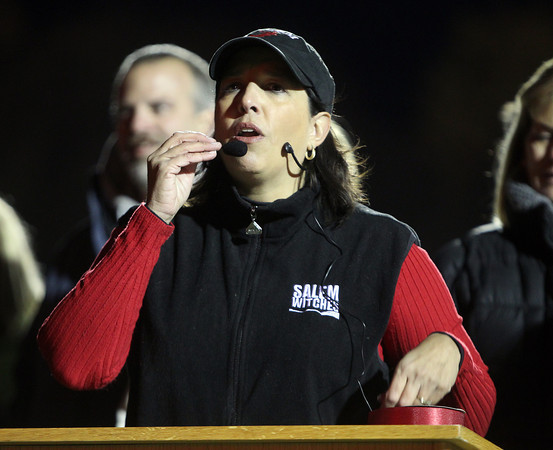 Salem: Salem Mayor Kim Driscoll speaks to a large crowd of players, cheerleaders and fans at the grand opening of the renovated Bertram Field on Friday evening. David Le/Salem News