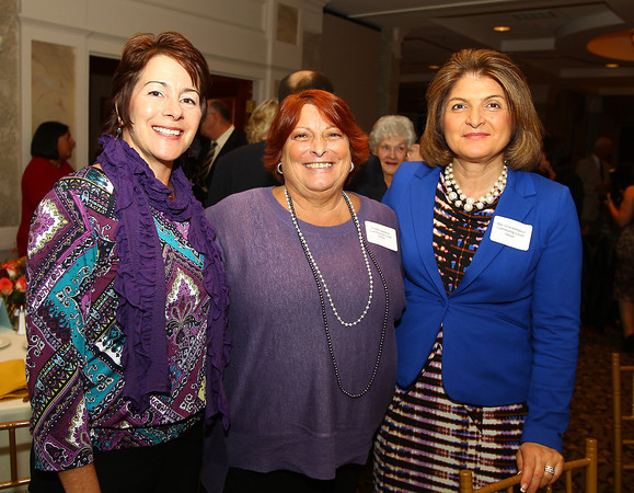 Lynnfield: From left, Nancie DeJoie, Teddie Spaneas, and Niki Charalambous, at the 82nd Dinner and Ankeles Award Ceremony held by the Peabody Area Chamber of Commerce at Spinelli's on Route 1 in Lynnfield on Wednesday evening. David Le/Salem News