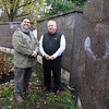 Danvers: Glenn Dagley, and Bud Holden stand next to the new Walnut Grove Cemetery Columbarium garden. David Le/Salem News