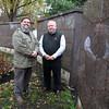 Danvers: Glenn Dagley, and Bud Holden stand next to the new Walnut Grove Cemetery Columbarium garden. David Le/Salem News