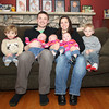 Peabody: Bill and Katie Medeiros, of Peabody, center, had three-year-old Wesley, left, and four-year-old Colby, right, and tried to have a baby girl. The couple ended up having identical triplets, Rose, Eleanor, and Jeanine, in August. David Le/Salem News
