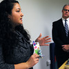 "Salem:<br /> Cam Ostrow, left, MASSPIRG Toy Safety Advocate speaks about the ""Littlest Pet Shop"" toy and how it is a choke hazard at the Dangerous and Toxic Toys Press Conference at the Salem Community Child Care Center in Salem. Representative John Keenan listens to her speak about this toy as well as others.<br />  Photo by Ken Yuszkus / The Salem News, Tuesday, November 26, 2013."