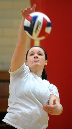 Peabody:<br /> Tessa McLaughlin of Bishop Fenwick's volleyball team at practice preparing for the Division 2 state semifinal against Notre Dame of Hingham. <br /> Photo by Ken Yuszkus / The Salem News, Tuesday, November 12, 2013.